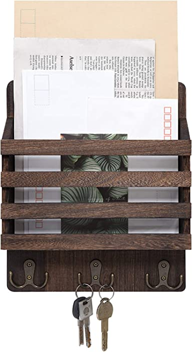 Mkono Mail Sorter Organizer Wood Key Holder Organizer, Rustic Wall Mail Holder with 3 Key Hook Rack, Wall Mount Letter Bills Magazine Coats Organizer for Home Entryroom, Office,Brown