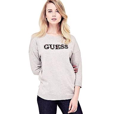 4837cdc27a9b Guess Pull Femme Cloe Logo Applications W81r36 - Gris - L  Amazon.fr ...