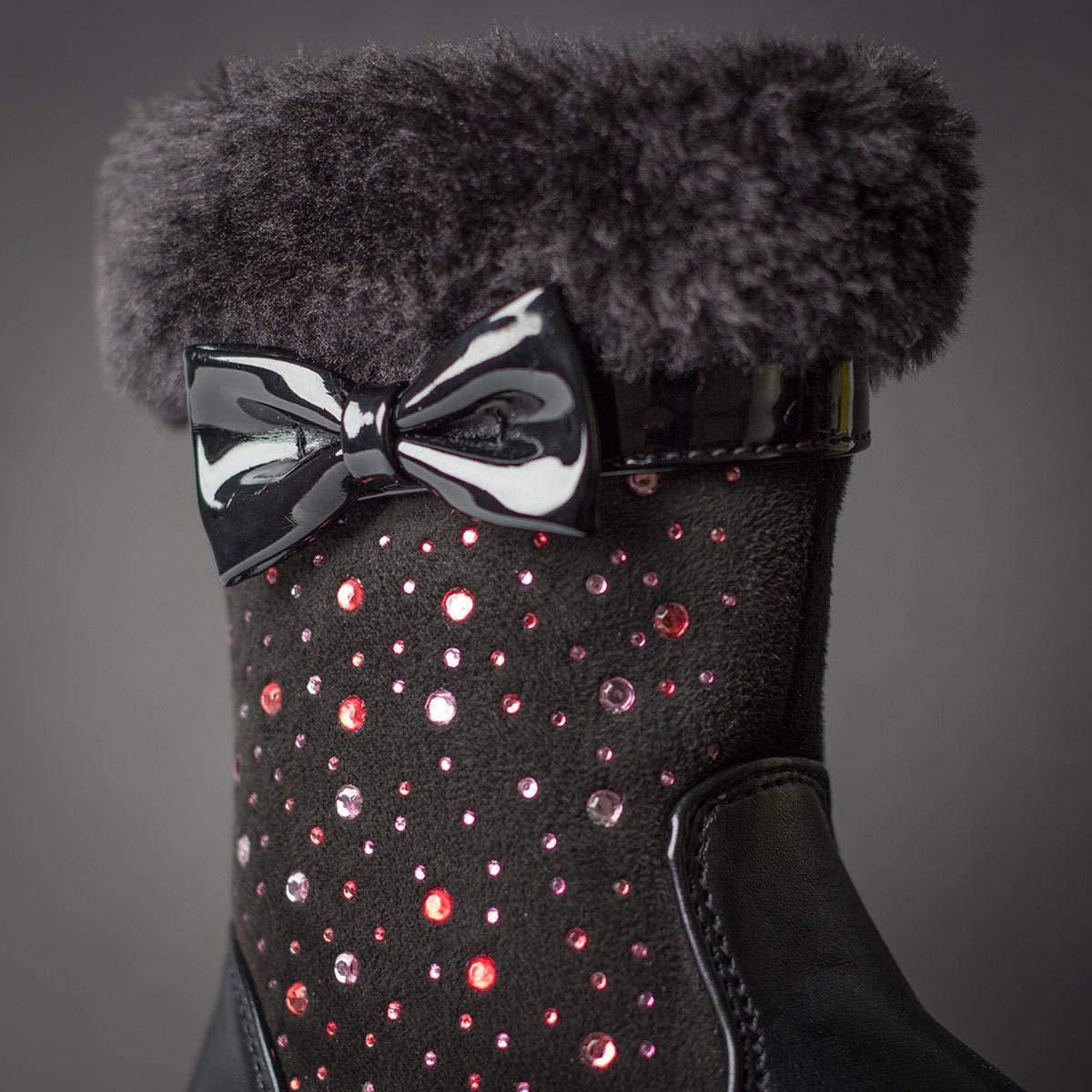 Walkright Girls Black Faux Fur Diamante Calf Boot