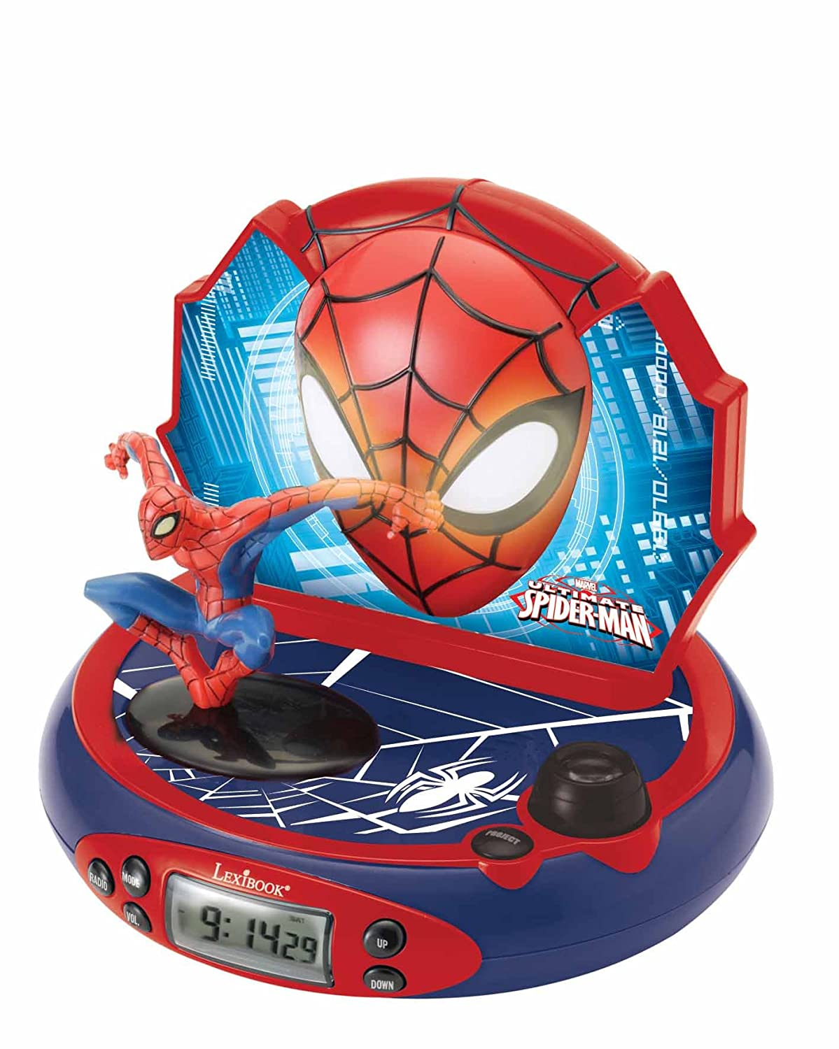 Lexibook Marvel Spider-Man Peter Parker, Projector Alarm Clock, Projecting  Spider-Man puictures on the ceiling, FM radio, LDC screen, Snooze function,