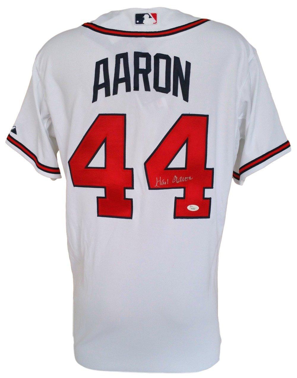 on sale 0939b 07cf2 Hank Aaron Signed Atlanta Braves White Authentic Majestic ...
