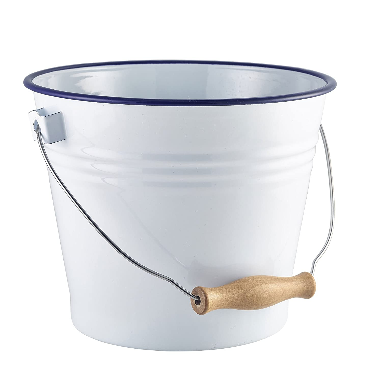 /RUSTIKAL Pr/äsentation Bucket Emaille Eimer wei/ß mit blau Rand 16/cm/