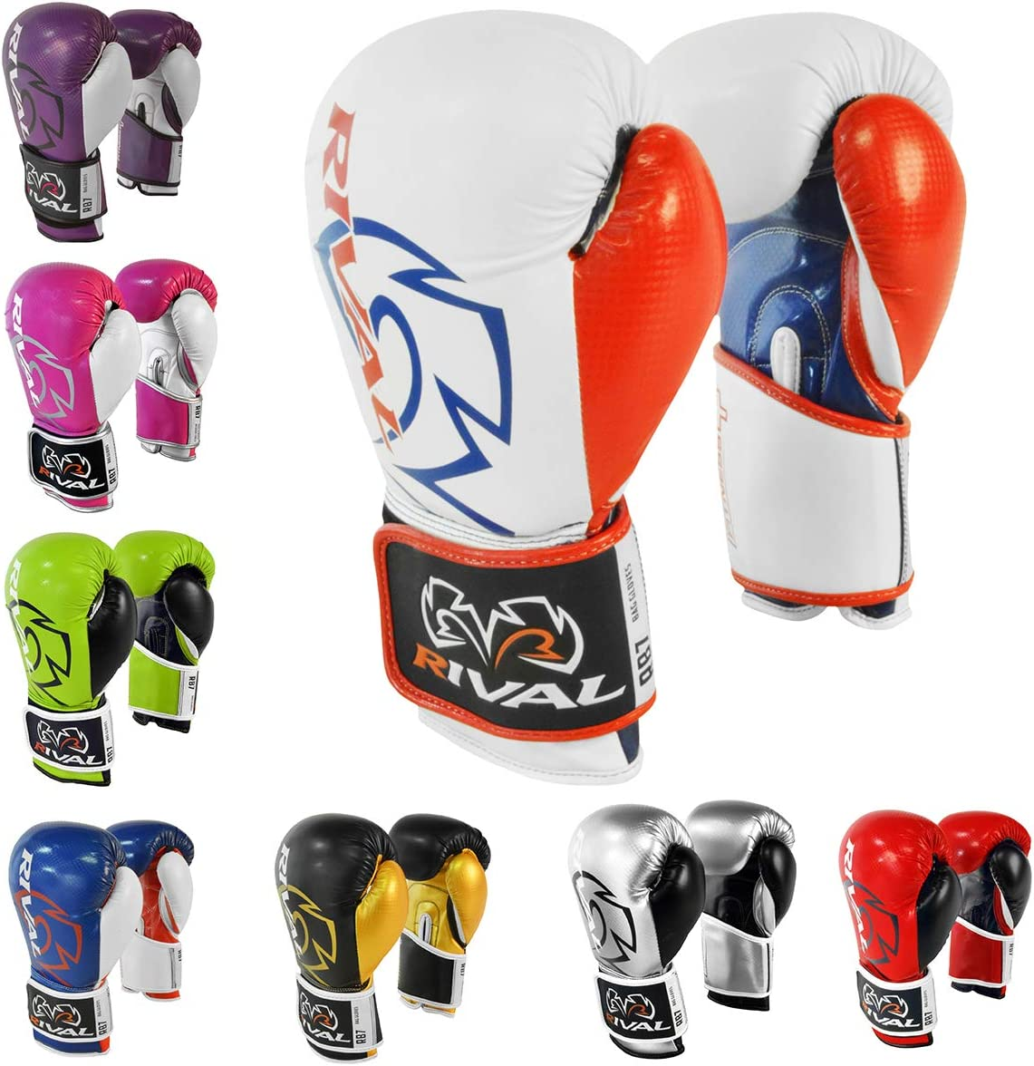 Blue//Red//White Rival Boxing RB7 Fitness Hook and Loop Bag Gloves