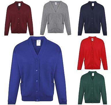0fcee084fa110a Unisex Boys Girls Kids School Uniform V Neck Full Sleeve Sweater ! Plain  Casual Knitwear Button up Cardigans Kids 2 Years to Adult XL: Amazon.co.uk:  ...