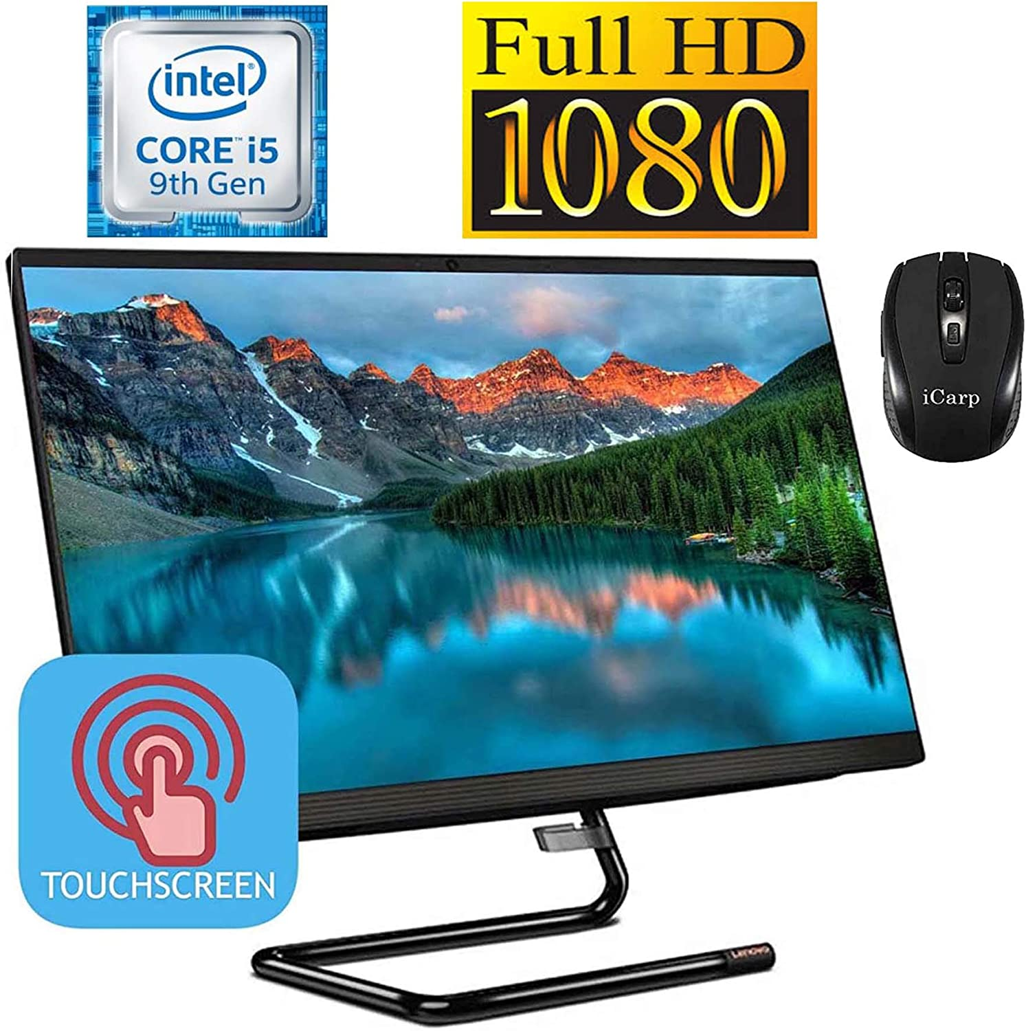 2020 LatestLenovo IdeaCentre A340 24 All-in-One Desktop 23.8 inch FHD IPS Touchscreen 9th Gen Intel Hexa-Core i5-9400T(Beats i7-7700HQ) 8GB DDR4 256GB PCIe SSD 1TB HDD Win 10 + iCarp Wireless Mouse