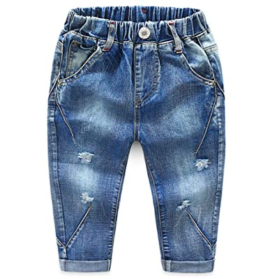 Abolai Baby Boys Girls Denim Pants Ripped Holes Jeans Trousers