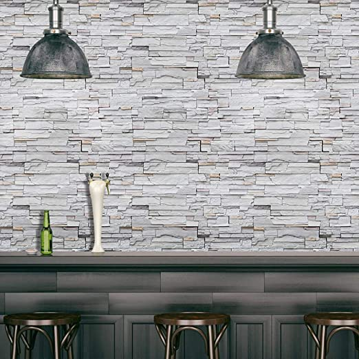 Amazon Com Ouniman Retro Brick Peel And Stick Wallpaper Removable Self Adhesive Wallpaper Home Wall Art Decal Contact Backsplash Paper Faux Brick Paper 17 7 X39 3 For Living Room Office Kitchen Bedroom Gray Home