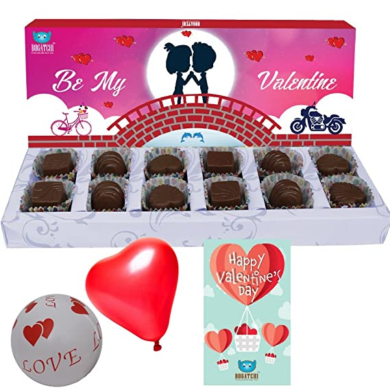 Valentine S Day Gift Valentines Day Chocolates Valentines Day Gift Hamper Valentine Special Dark Chocolate Box 12 Pcs Free Love And Heart Shape Balloons Free Valentines Day Greeting Card Amazon In