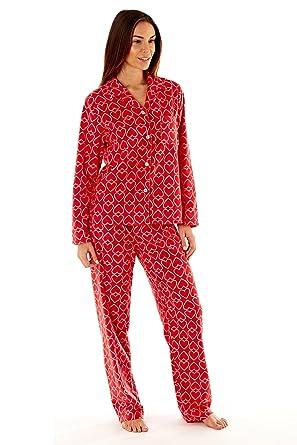 cc61935662a4 Ladies Heart Print Fleece Pyjamas Set at Amazon Women s Clothing store
