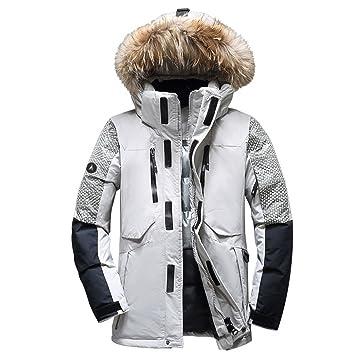 NJJSR Hombres Chaqueta Invierno Espeso, Blanco cálido Duck Down Coat Ropa Informal para Hombres wellensteyn