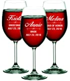 Personalized Wine Glasses - Bridesmaid Gifts, Engraved Monogrammed and Customized for Free