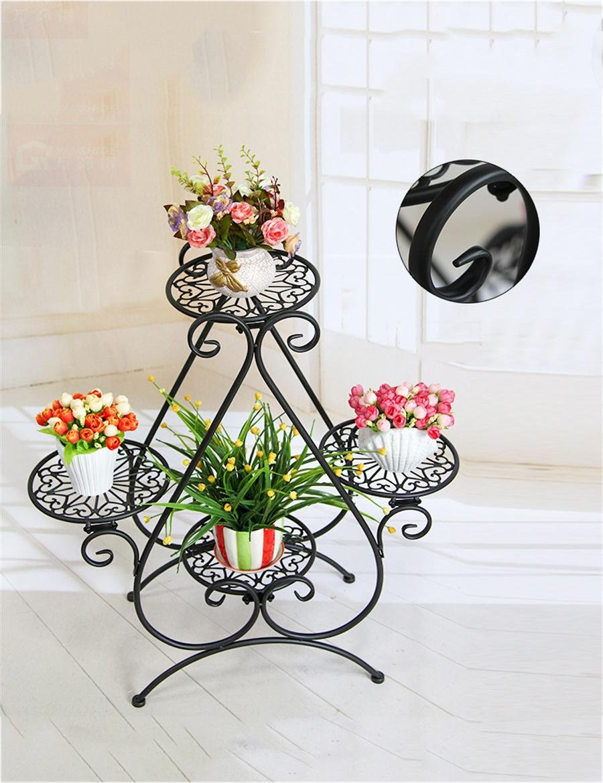 LB huajia ZHANWEI Europäische - Stil Blumenregale Mehrstöckige Innen Wohnzimmer Blumenregal Balkon Blumenregale (Farbe : SCHWARZ)