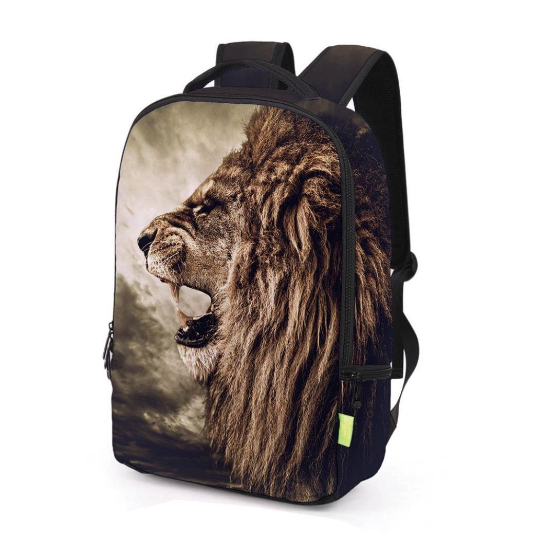 Sunward School Backpack Bags 3D Animal Print Cute Laptop Hiking Daypacks for Boys and Girls (B)