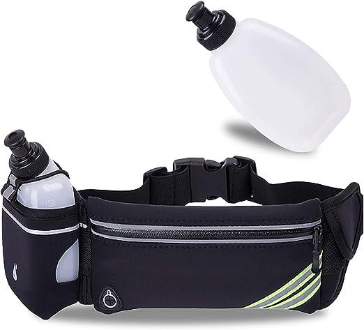 GLC Running Belt Waist Pack Wth Water Bottle Holder Water Resistant Workout Fanny Pack,Gym Phone Holder no-Bounce Waist Bag,Earphones Hole Desgin
