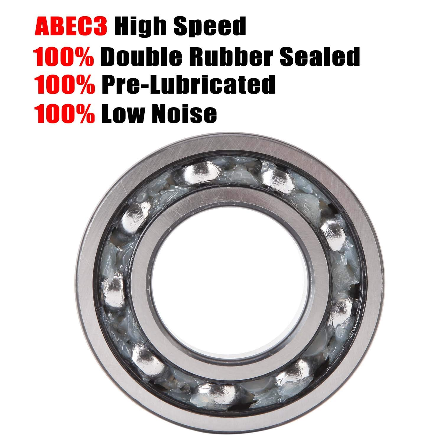 Donepart 2 Pcs 6200 Bearings 6200RS Ball Bearings 10mm x30mm x9mm C3 Precision Double Rubber Sealed and Pre-Lubricated Deep Groove Bearings