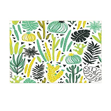 amazon com nymb wild tropical rainforest cactus plant decornymb wild tropical rainforest cactus plant decor, watercolor cactus with monstera leaves bath rugs,