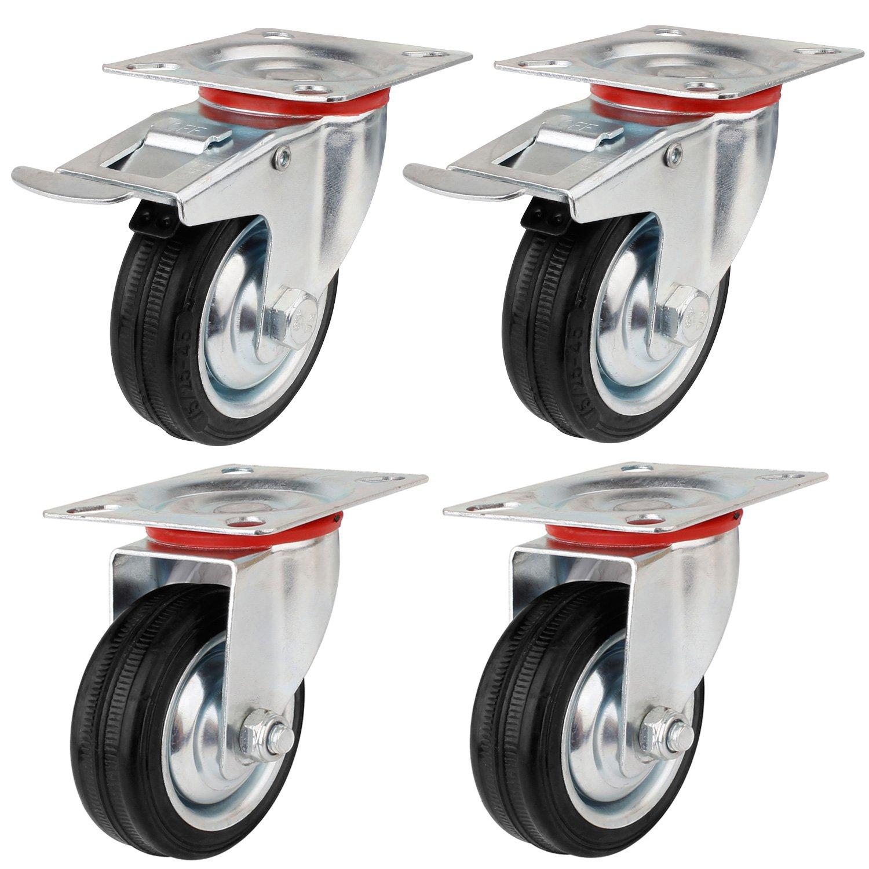 Ruedas de Transporte de transporte Ruedas cargas pesadas rollos de muebles (2 x Ø 75 mm ruedas + 2 x volantes Ø 75 mm con freno, a 50 kg por rollo): ...