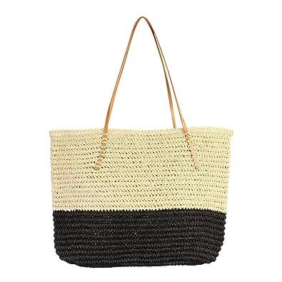 33d7b5e9431c Amazon.com  RIAH FASHION Boho Rattan Crochet Straw Woven Basket Bali Handbag  - Round Circle Crossbody Shopper Beach Tote Bag (Colorblock Beach Tote ...