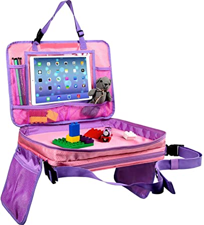 Detachable Top 4 in 1 Lap Desk for Kids and Makes Kids Travel Activities Fun Tablet Holder and Carry Bag All-in-one Car Seat Tray Pink and Purple Kids Travel Tray Kids Back Seat Organizer