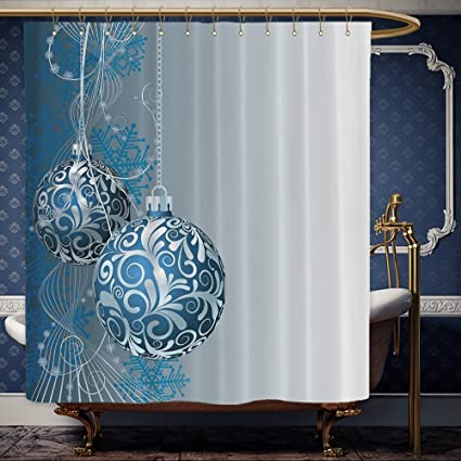 Wanranhome Custom Made Shower Curtain Blue Silver Holiday Christmas Ornaments Digital For Bathroom Decoration 72