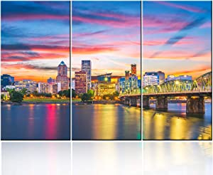 3 Pieces Wall Art Painting Portland, Oregon Skyline Prints On Canvas the Picture City Pictures Oil for Home Modern Decoration Print Decor for Living Room with Framed Ready to Hang - 28 inch x 14 inch