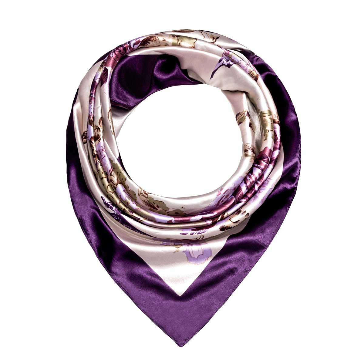 Flowomen Women\'s Silk Scarf Colorful Square Large Neckerchief Daily Luxury Fashion Wrap (Purple1)