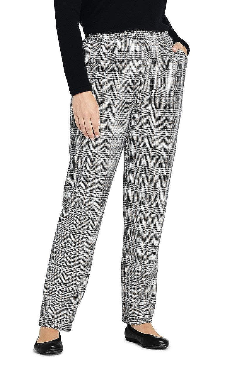 Vintage High Waisted Trousers, Sailor Pants, Jeans Lands End Womens Plus Size Petite Sport Knit High Rise Elastic Waist Pull On Pant - Print $49.95 AT vintagedancer.com