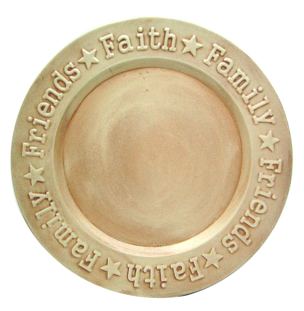 Craft Outlet Faith Family Friend Plate, 12-Inch, Off-White
