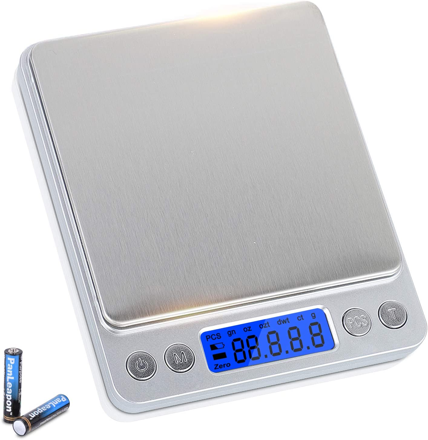 Hogreat Kitchen Scale 3000g/ 0.1g, Digital Food Scale Weight Grams and Oz with Stainless Steel Surface 6 Units Conversion, Back-Lit LCD Display, Gram Scales for Jewlery, Coffee, Dieting,Cooking,Baking