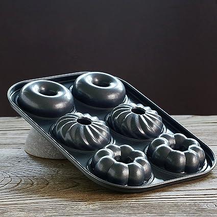 Molde 6 Incluso Hohlen Círculo molde Pan Hornear buñuelos con doble cara de antiadherente Sartén