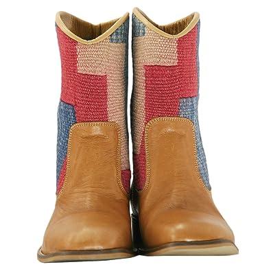 Tan Western Cowboy Boots Alyssa (Blue; Red; Beige)