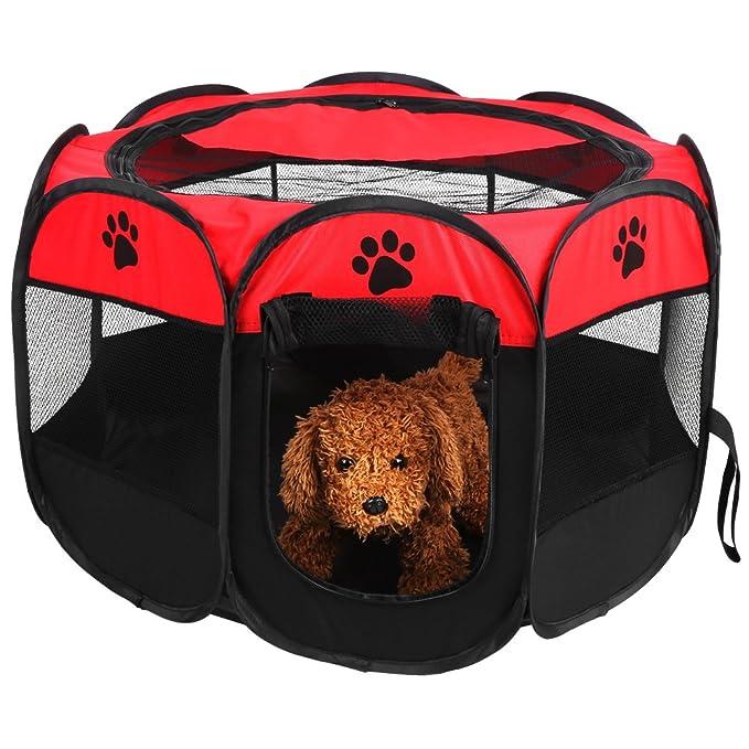 zerone tienda para Animal, Parque de Animal de tela plegable portátil tienda de campaña de cachorro con tapa de malla ventilación valla para tienda de ...