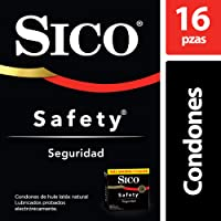 Sico Condones De Látex Lubricados, Sico Safety, Color Natural, Cartera Con 16 Piezas, color , 16 count, pack of/paquete de