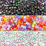 #7: PGXT 900 Pieces 3 Color 6mm DIY Acrylic Alphabet Letter A-Z Cube Beads for Jewelry Making, Bracelets, Necklaces, Children's Educational Toys, Key Chains and Children's Educational Toys