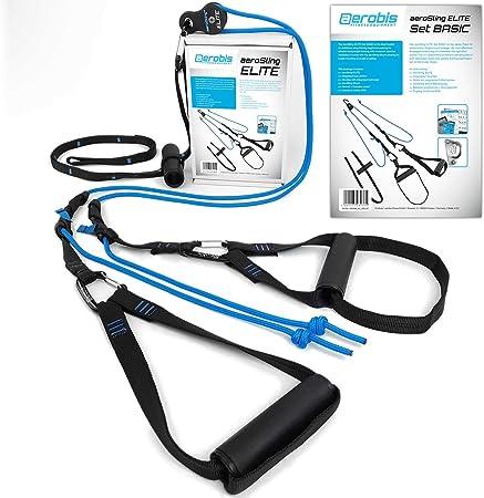 aeroSling Sling Trainer Elite Set Basic, Suspension Trainer con polea de Inversion, para el Entrenamiento de Todo el Cuerpo con su Propio Peso ...