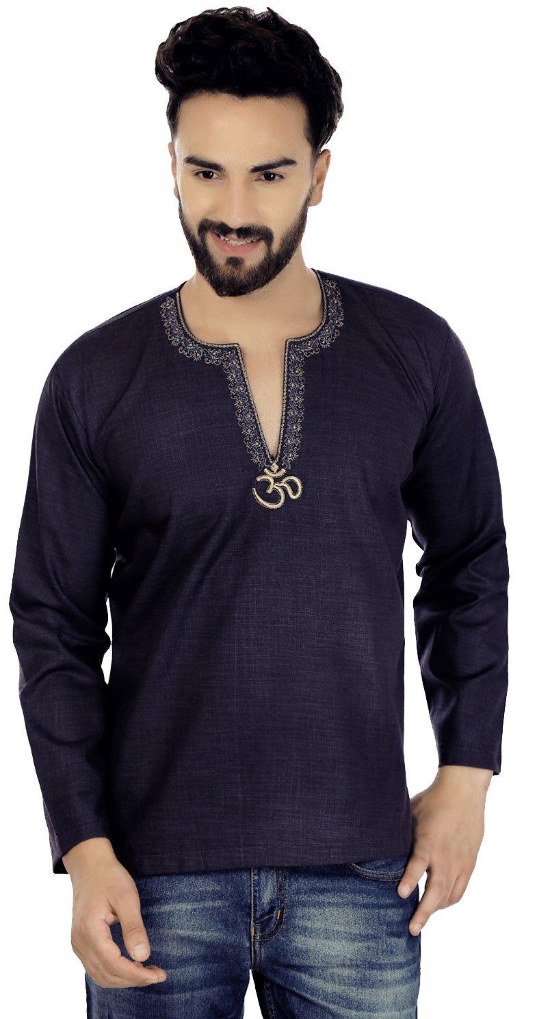 Maple Clothing Cotton Dress Men's Short Kurta Shirt India Fashion Clothes (Blue, S)