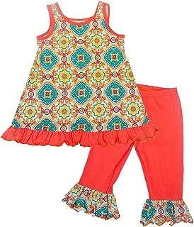 product image for Cheeky Banana Little Girls Kaleidoscope Swing top & Ruffle Leggings Coral