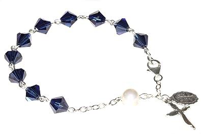 4b5671abe Amazon.com: Womens Rosary Bracelet made with Dark Indigo Blue ...