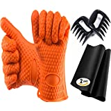 Complete Set For Grill/Oven/Barbecue - Silicone Gloves + 2 Non-Stick Mats + Pair of Meat Claws   Perfect Set as a Gift   FDA Approved, BPA Free
