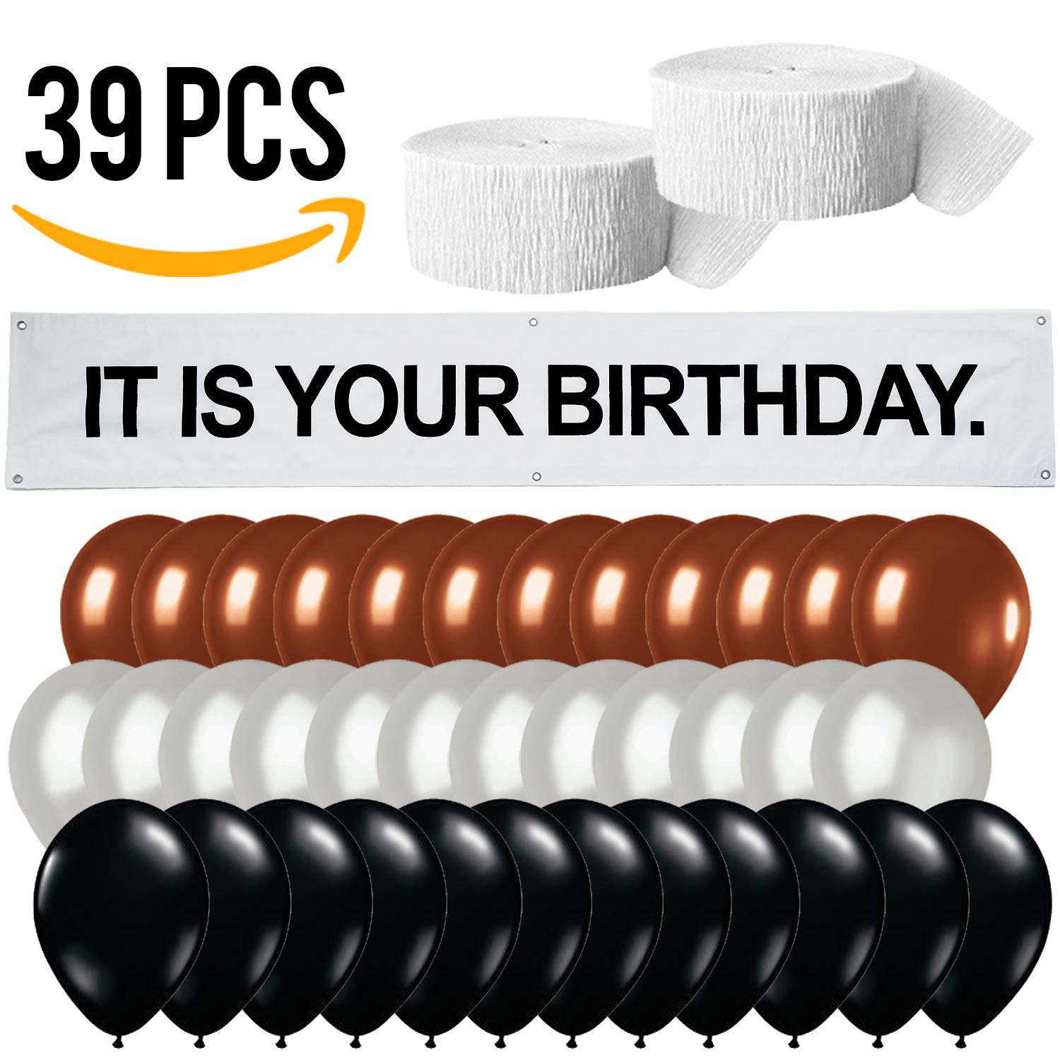 It is Your Birthday. Banner • The Office Birthday Decorations • Dwight Schrute Birthday Set | Banner + Brown, Black, Silver Balloons + White Crepe Streamers