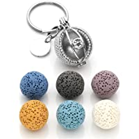 CrystalTears Aromatherapy Keychain Evil Eye Hollow Locket Pendant w/Lava Stone Beads Diffuser for Essential Oil ~ Best…