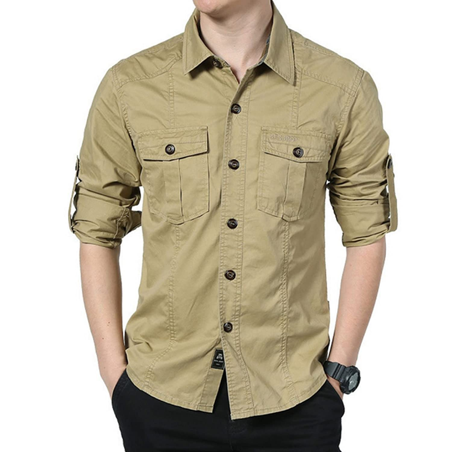 Men 's Long - Sleeved Lapel Pure Cotton Washed Shirt