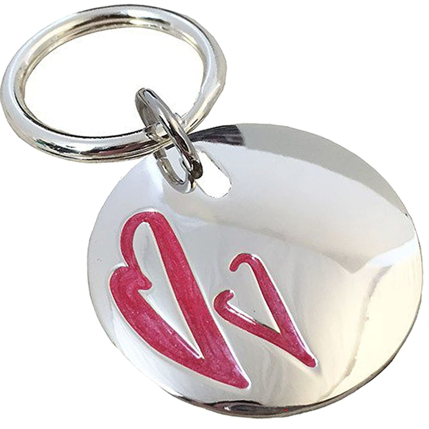Circle With Keyring With Circle Two Rojo Hearts And Polished Finish 20d9b4