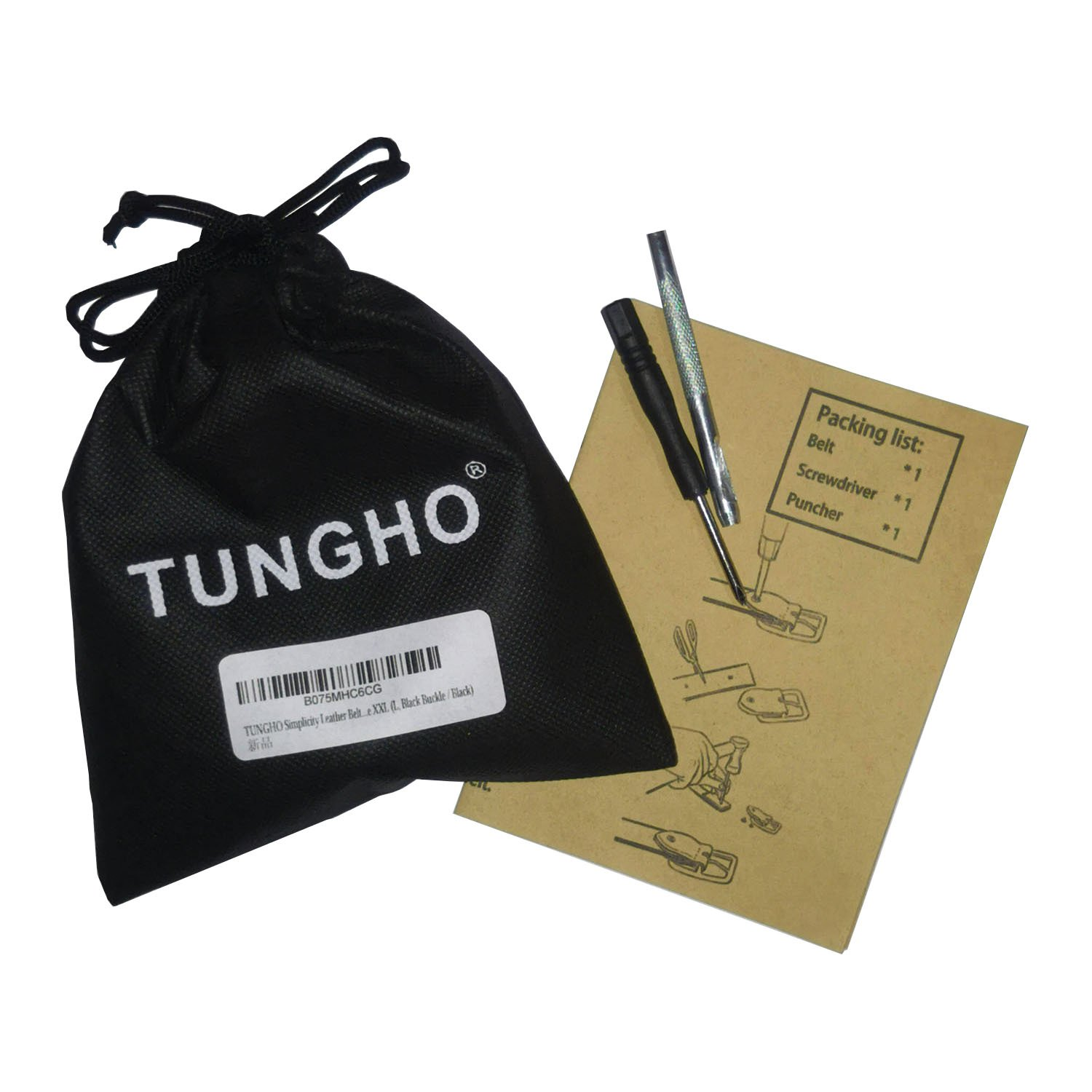 TUNGHO Simplicity Leather Belts For Women Polished Buckle Plus Size XXXL L, Max pants size 41, Black Buckle // Dark Brown