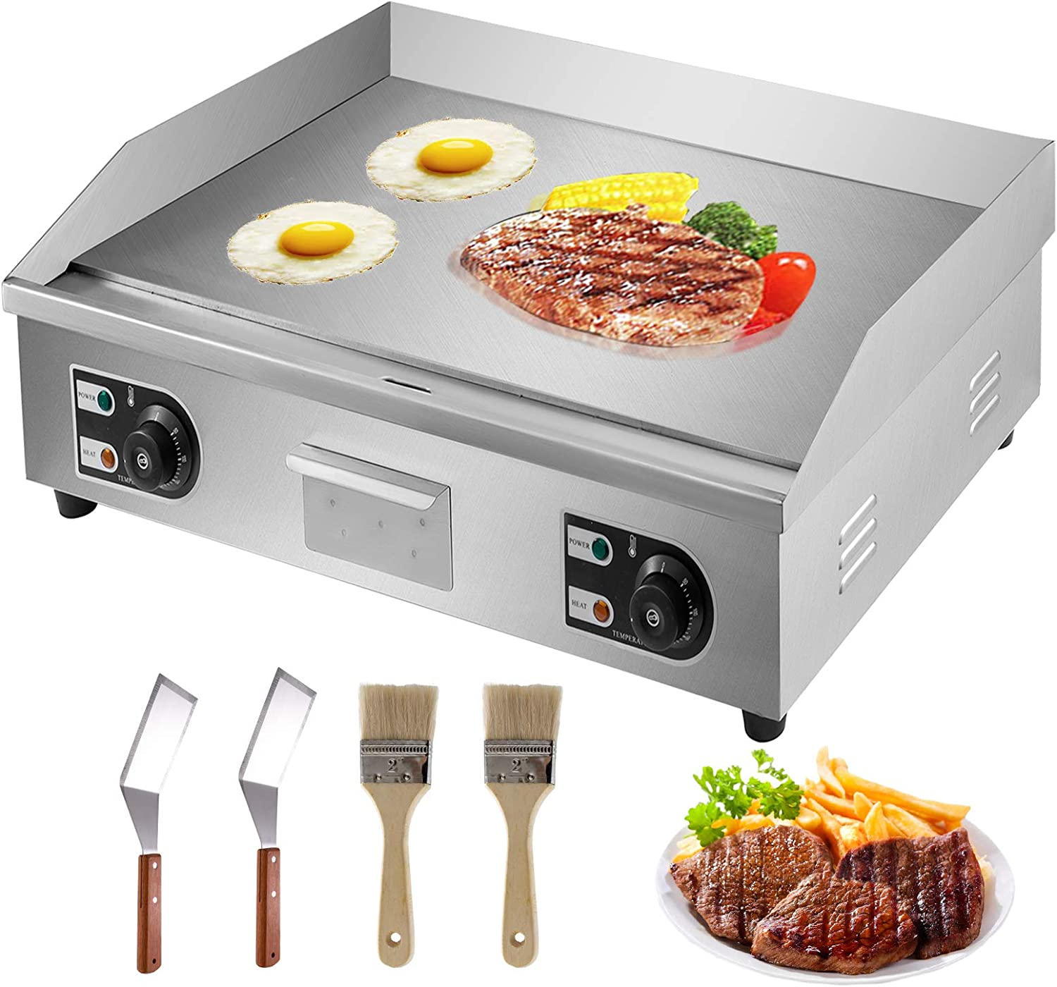 """VBENLEM 30"""" Electric Countertop Flat Top Griddle 110V 4400W Non-Stick Commercial Restaurant Teppanyaki Grill Stainless Steel Adjustable Temperature Control 122°F-572°F"""