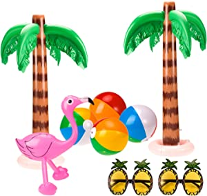 Whaline Set of 9 Inflatable Palm Trees Flamingos Decoration Inflatable Beach Balls Pineapple Sunglasses for Hawaii Party Luau Party Decor Beach Backdrop