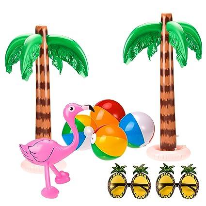 Amazon.com: Whaline Juego de 9 palmeras hinchables Flamingos ...