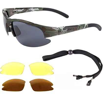 63e13d90709 Rapid Eyewear Mens UV400 Camouflage Polarized Sport Sunglasses with  Interchangeable Polarized   Low Light Lenses.