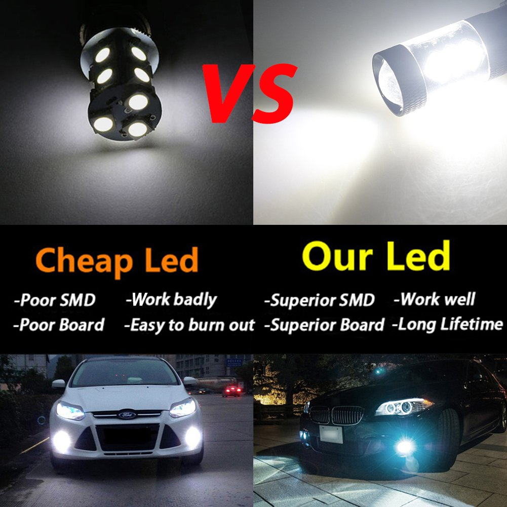 Pack of 2 TABEN Extremely Bright 1800LM H15 80W High Power LED Car Auto Driving Fog Tail Headlight Light Lamp Bulb White 12-24V