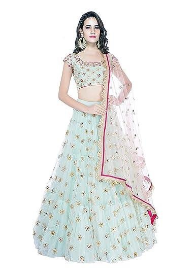 6865e7a856 Smit fashion women's Embroidered multi colour Semi Stitched lehengas, lehenga  choli(RK_Multi01_Free_Size) (sky blue): Amazon.in: Clothing & Accessories